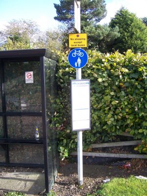 Shared use sign at Red Tile roundabout bus stop